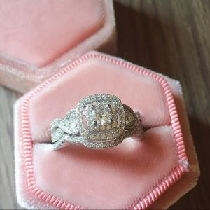 2pcs 925 Silver Engagement Ring Wedding Band Set